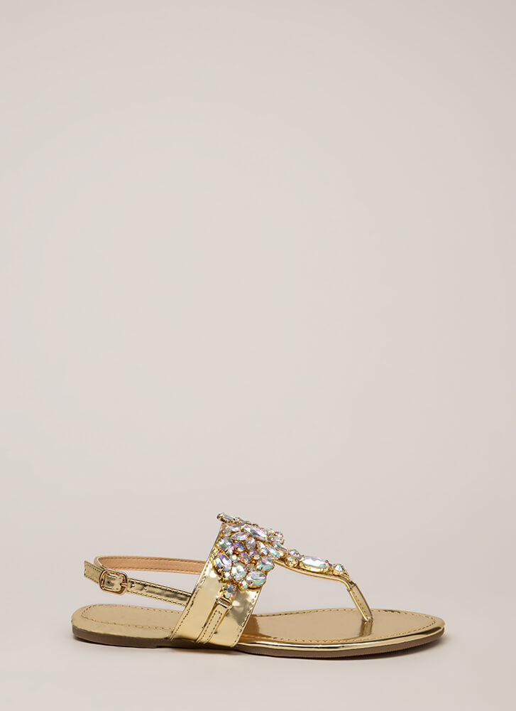 Precious Gems Jeweled T-Strap Sandals GOLD