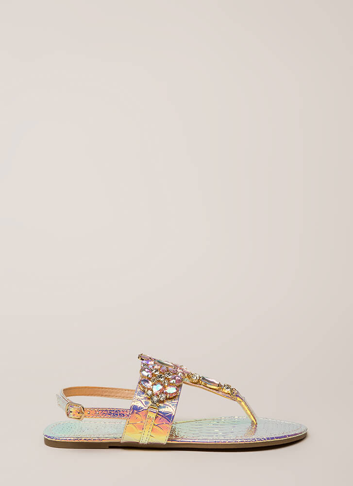 Precious Gems Jeweled T-Strap Sandals PINK