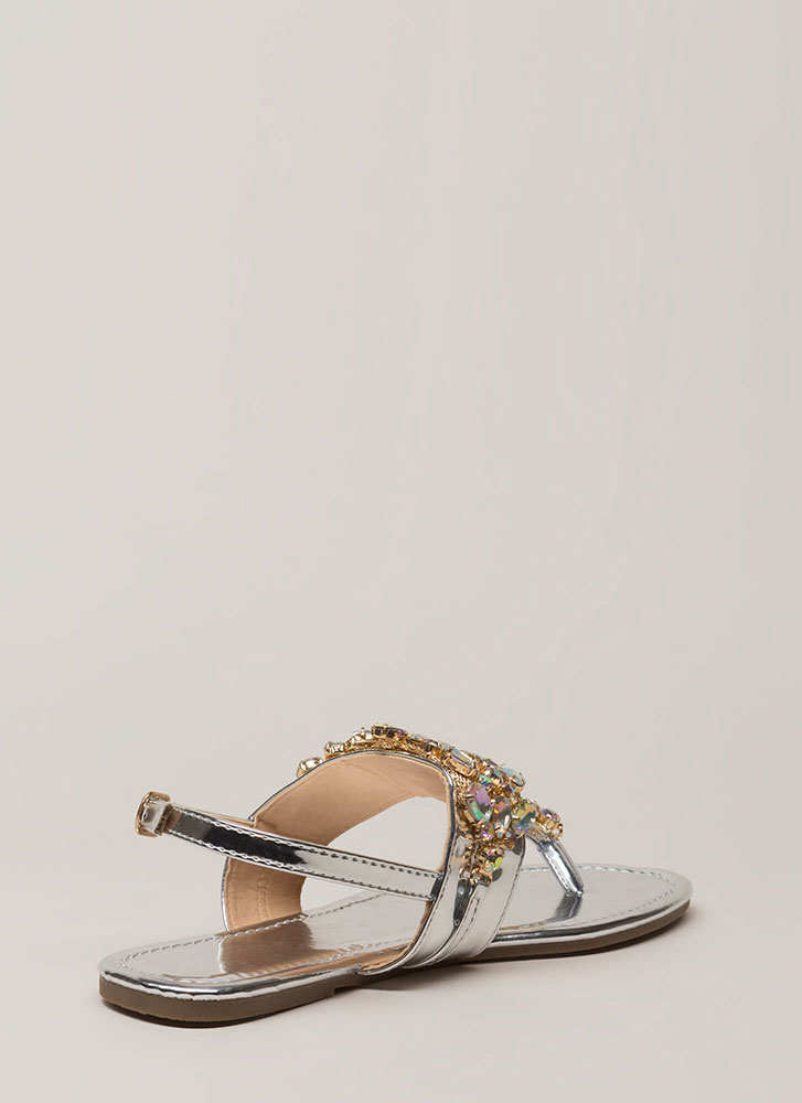 Precious Gems Jeweled T-Strap Sandals SILVER