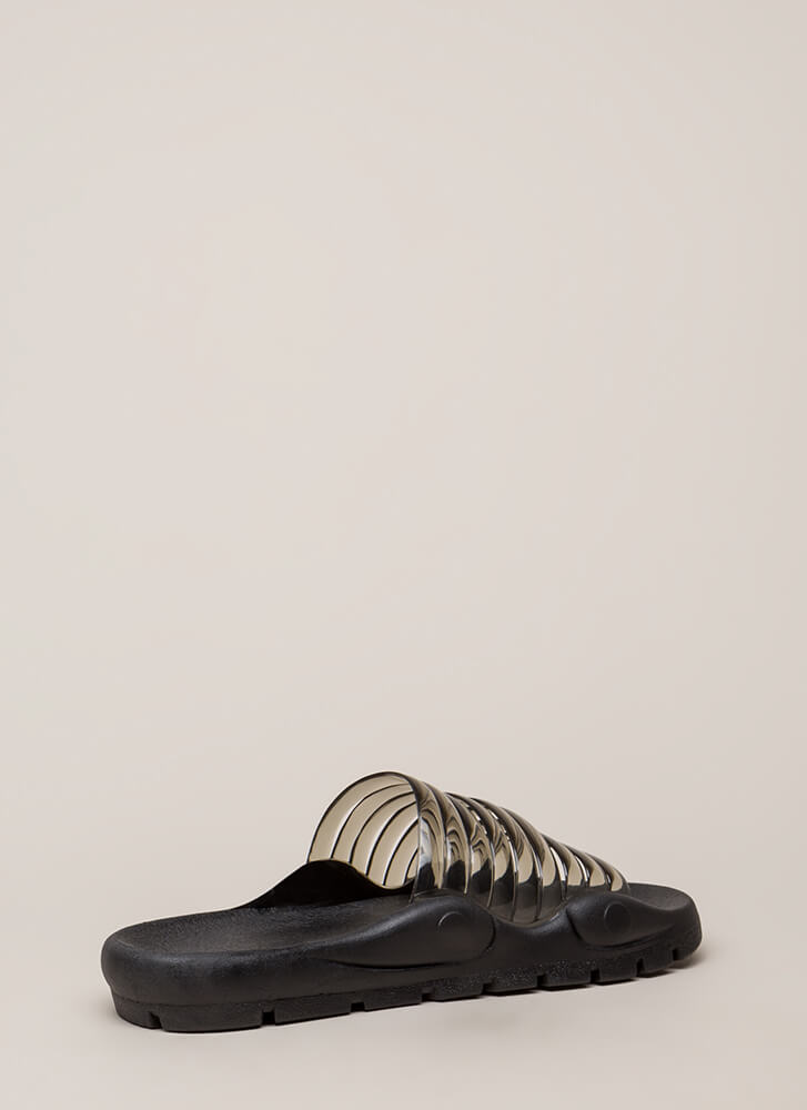 Day Off Jelly Strap Slide Sandals BLACK