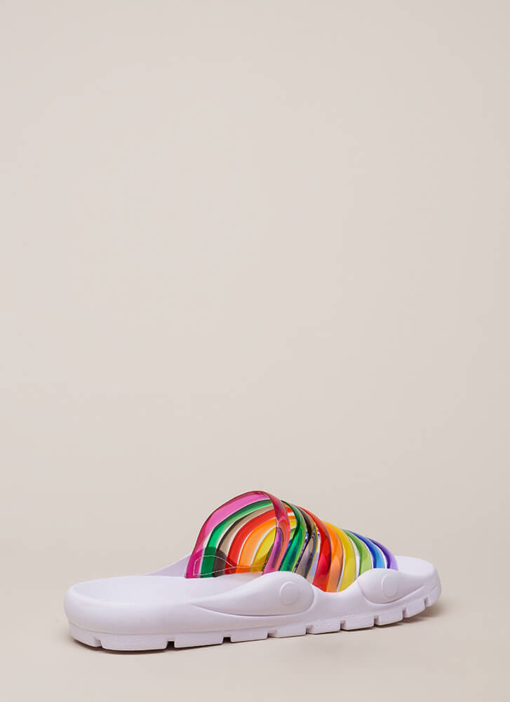 Day Off Jelly Strap Slide Sandals RAINBOW (You Saved $11)