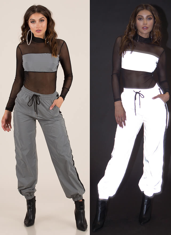 Flash Mob Reflective Striped Joggers SILVER (You Saved $26)