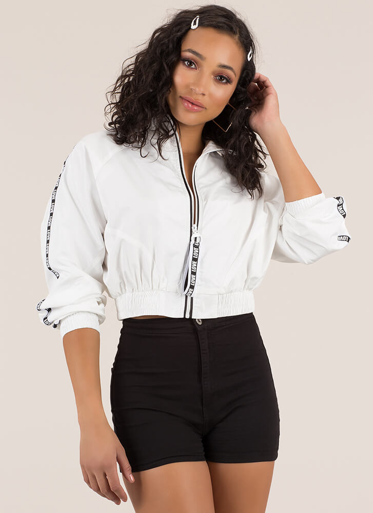 Love To Love U Trimmed Cropped Jacket WHITE (Final Sale)