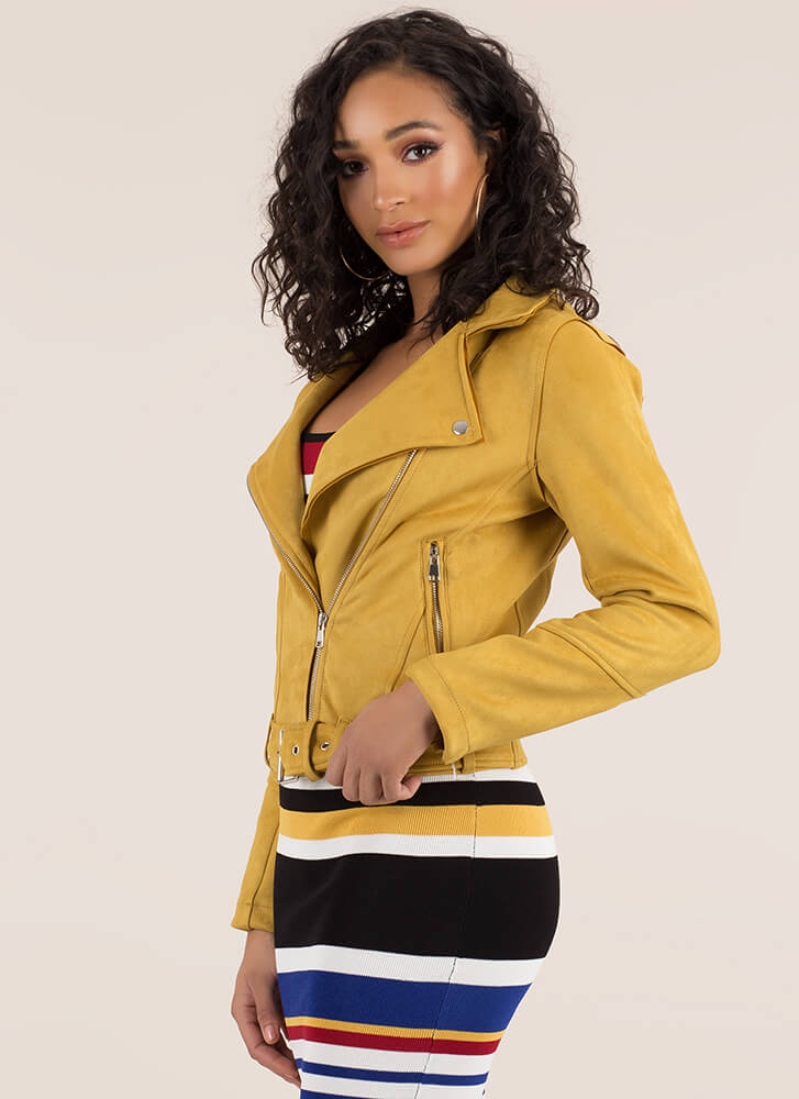 Ride Along Faux Suede Moto Jacket MUSTARD
