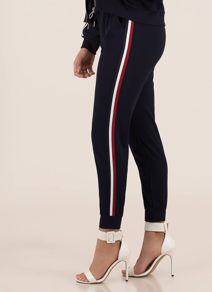 Running Time Striped Track Pant Joggers NAVY