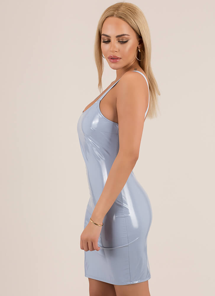 Glossy Lips Faux Patent Leather Dress BLUE