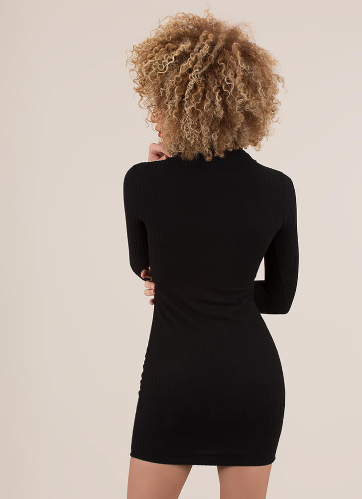 Chest Game Cut-Out Turtleneck Minidress BLACK