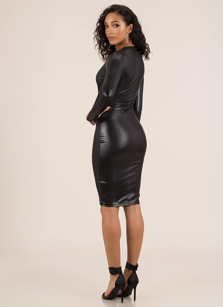 Snake Out Sparkly Zip-Front Midi Dress BLACK