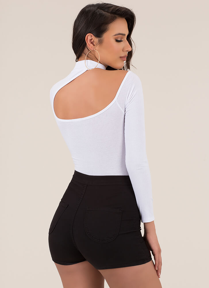 Exclusive Scoop Asymmetrical Bodysuit WHITE (You Saved $14)