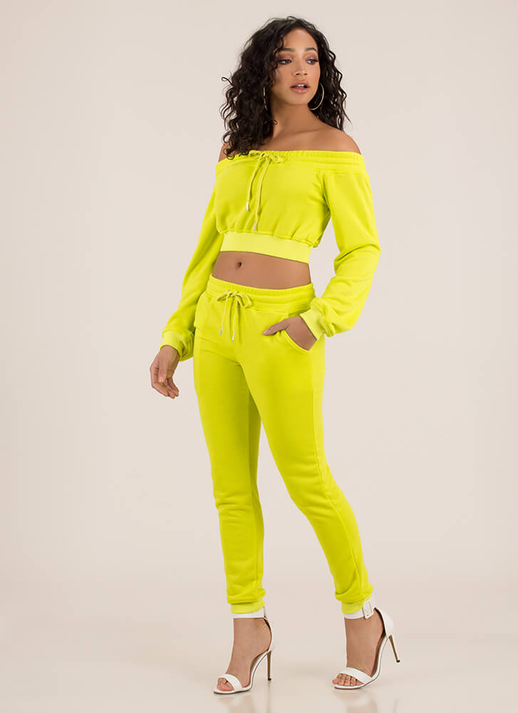 Don't Sweat It Off-Shoulder 2-Piece Set NEONYELLOW (You Saved $32)