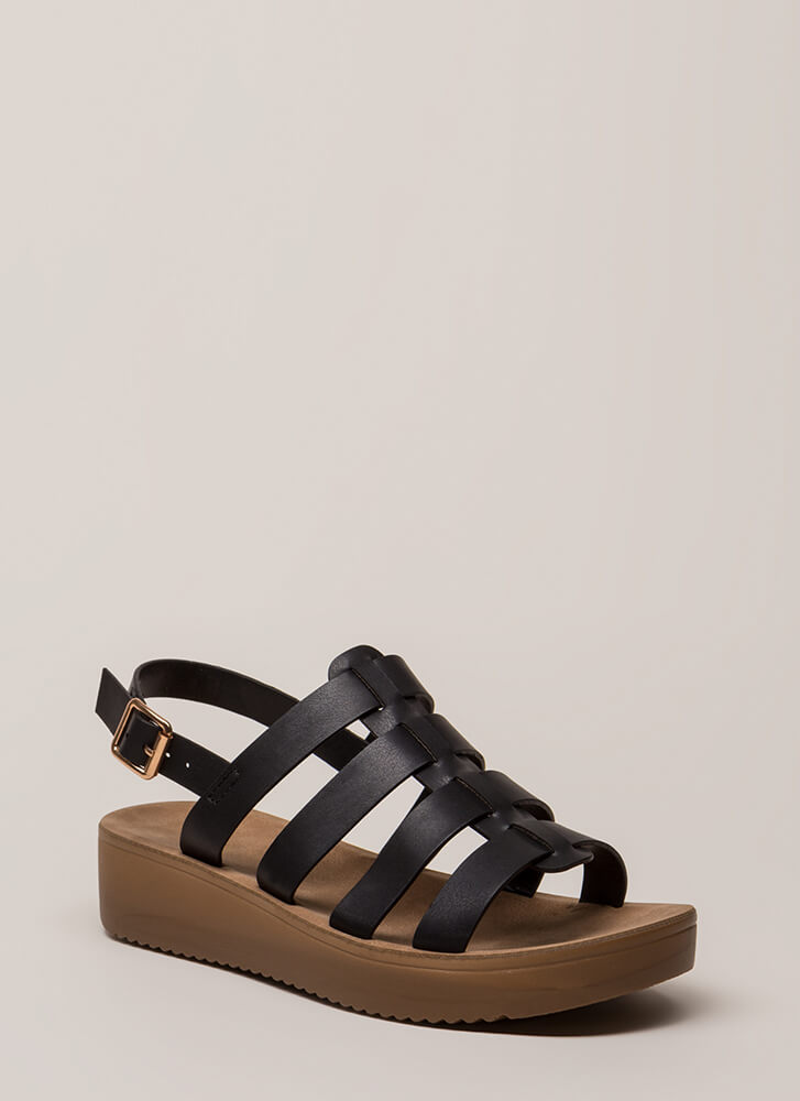 Today's The Day Strappy Platform Sandals BLACK