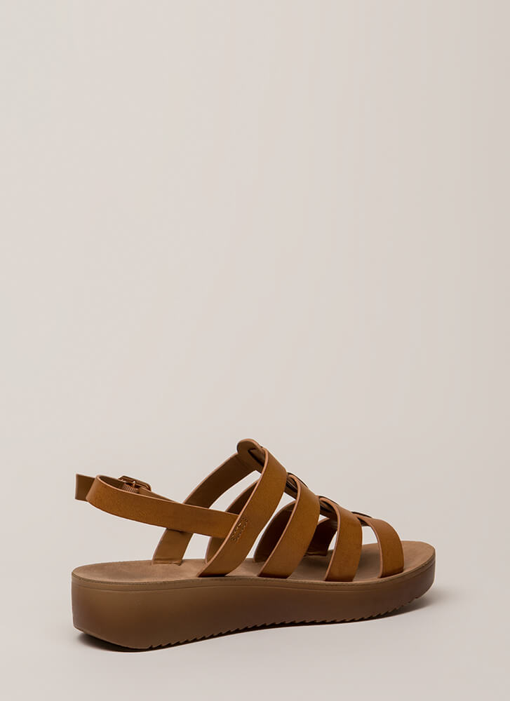 Today's The Day Strappy Platform Sandals TAN