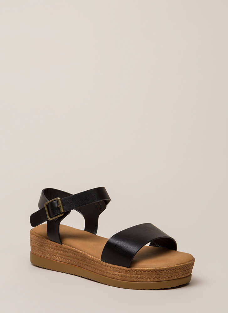 Nice Day Out Strappy Platform Sandals BLACK