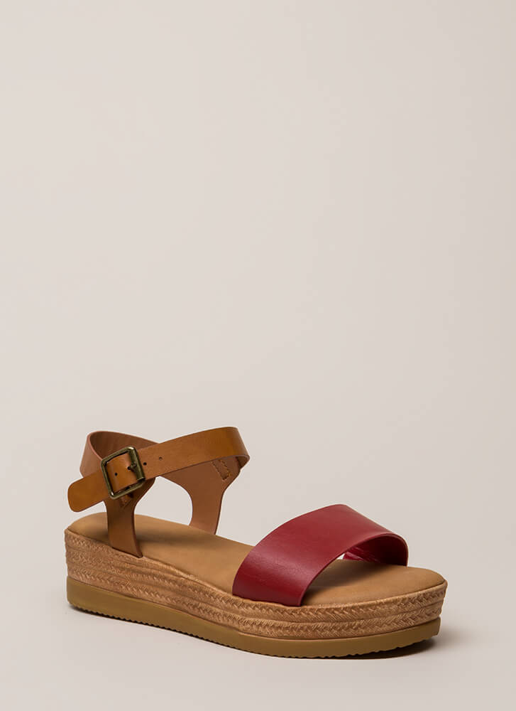 Nice Day Out Strappy Platform Sandals RED