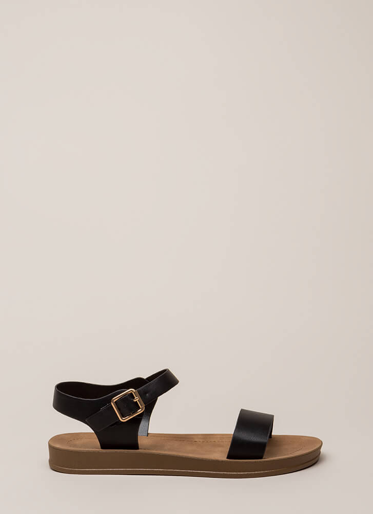 Simple As That Faux Leather Sandals BLACK