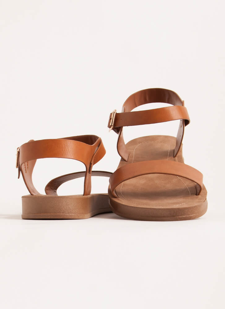 Simple As That Faux Leather Sandals TAN