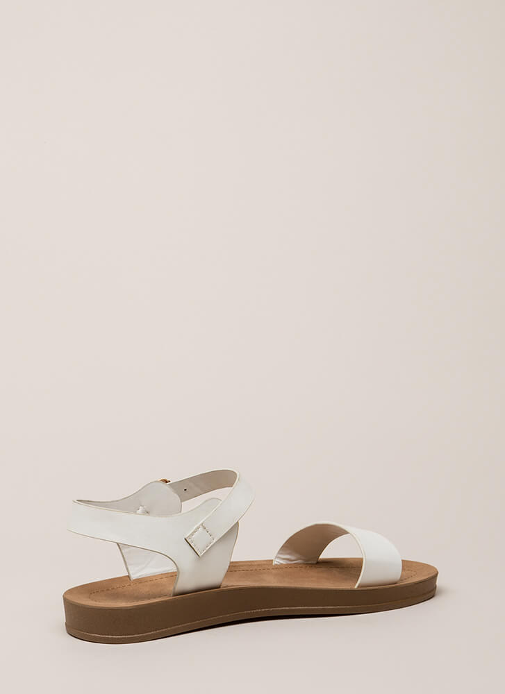 Simple As That Faux Leather Sandals WHITE