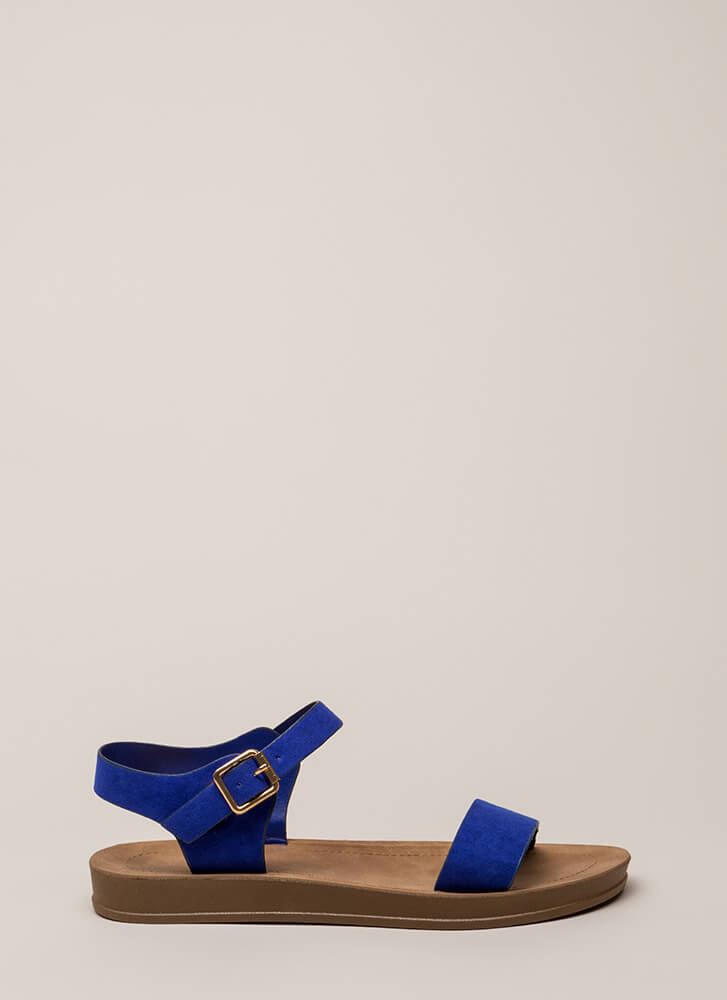 Simple As That Faux Suede Sandals ELECTRICBLUE