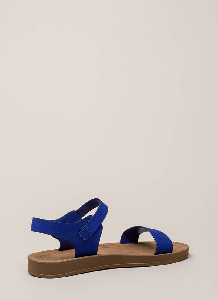 Simple As That Faux Suede Sandals ELECTRICBLUE (You Saved $10)
