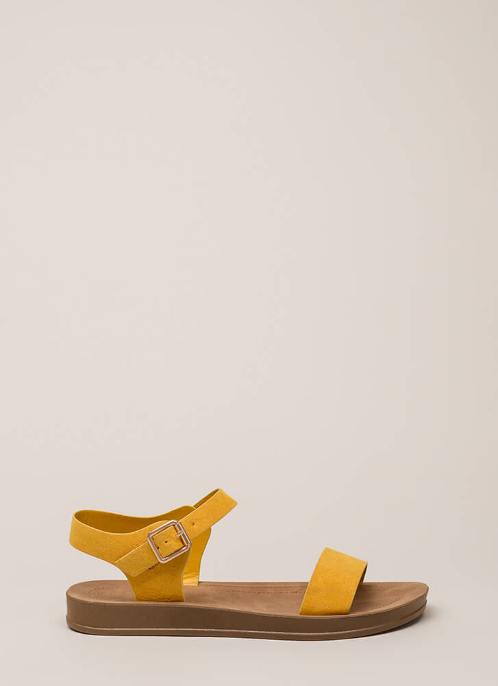 Simple As That Faux Suede Sandals MARIGOLD