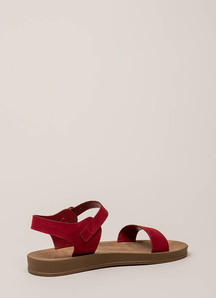 Simple As That Faux Suede Sandals RED (You Saved $10)
