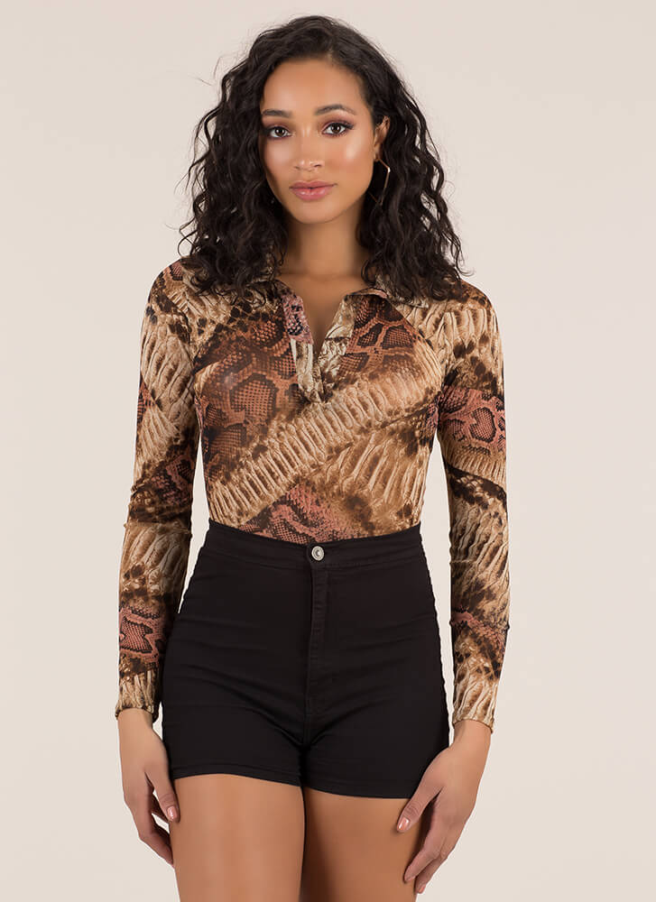 Snake Bite Collared Mesh Bodysuit BROWNMULTI (Final Sale)
