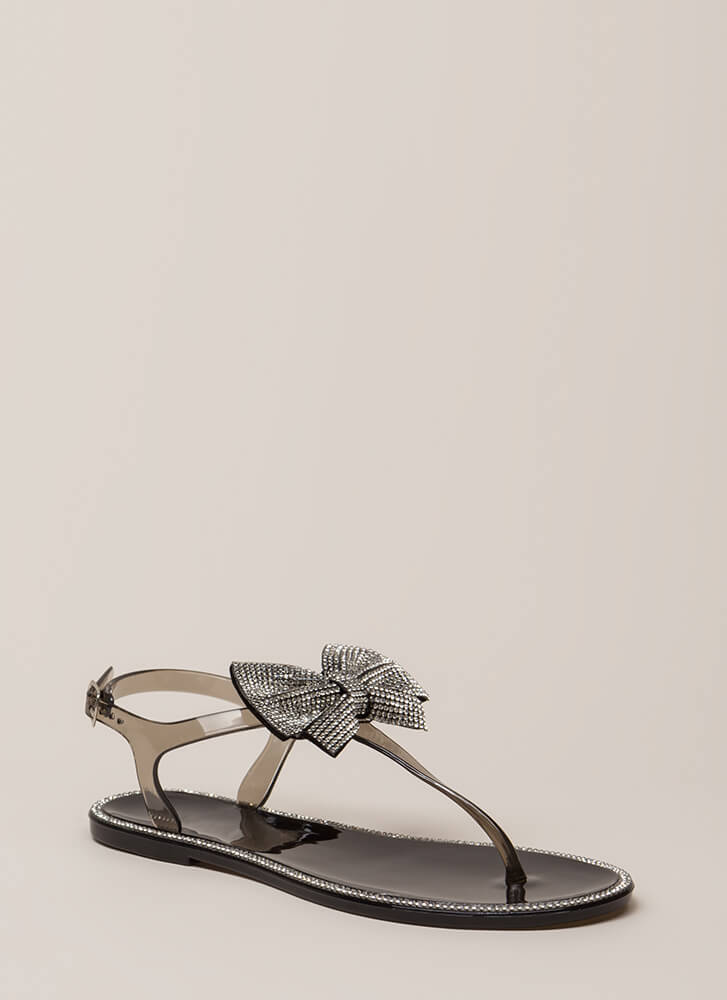 Big Bows Jeweled T-Strap Sandals BLACK