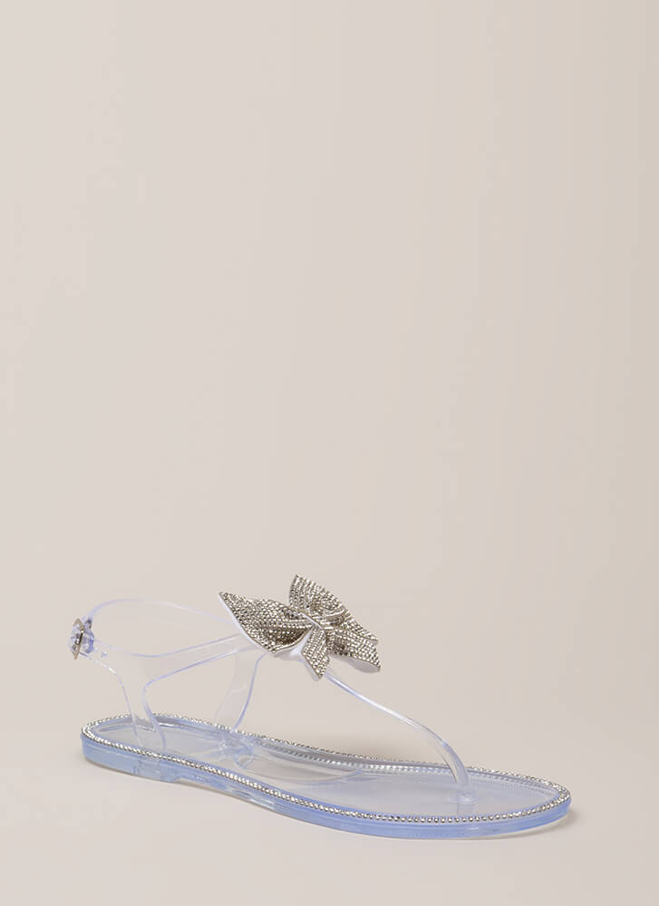 Big Bows Jeweled T-Strap Sandals CLEAR