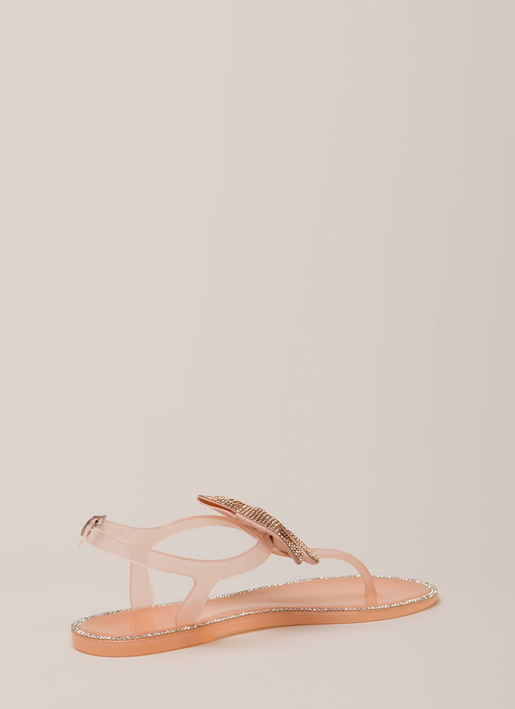 Big Bows Jeweled T-Strap Sandals NUDE