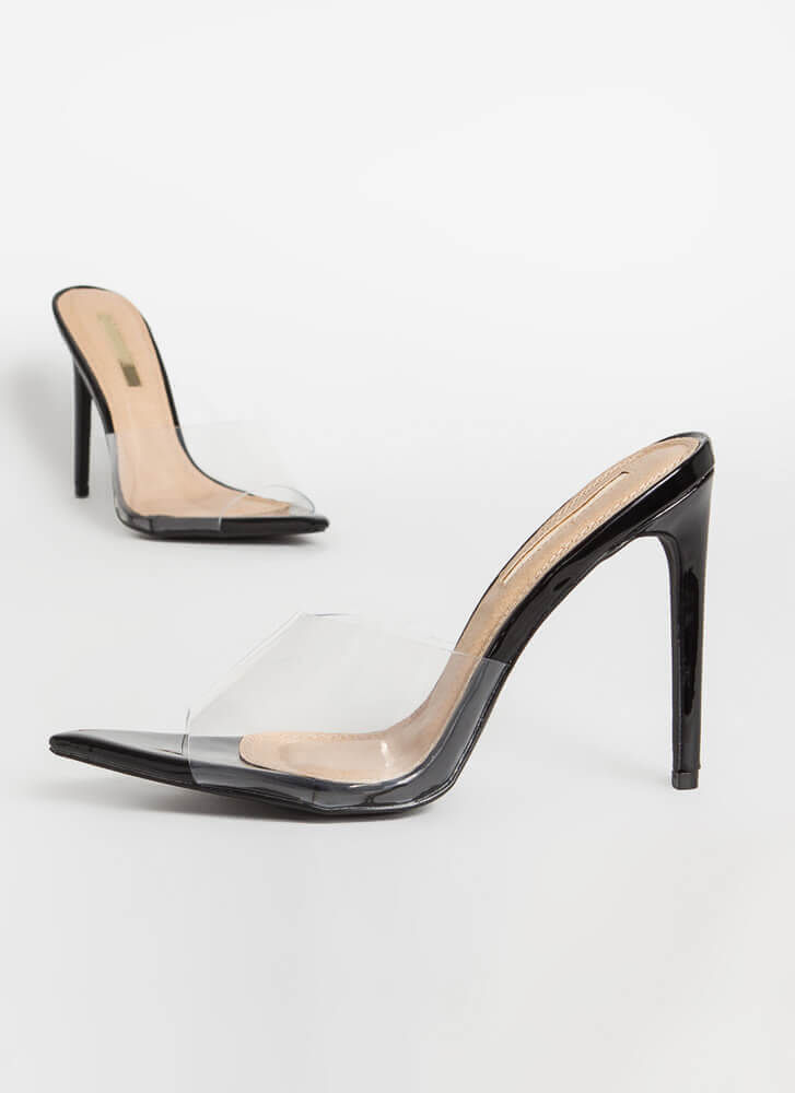 Clearly Sexy Pointy Peep-Toe Mule Heels BLACK