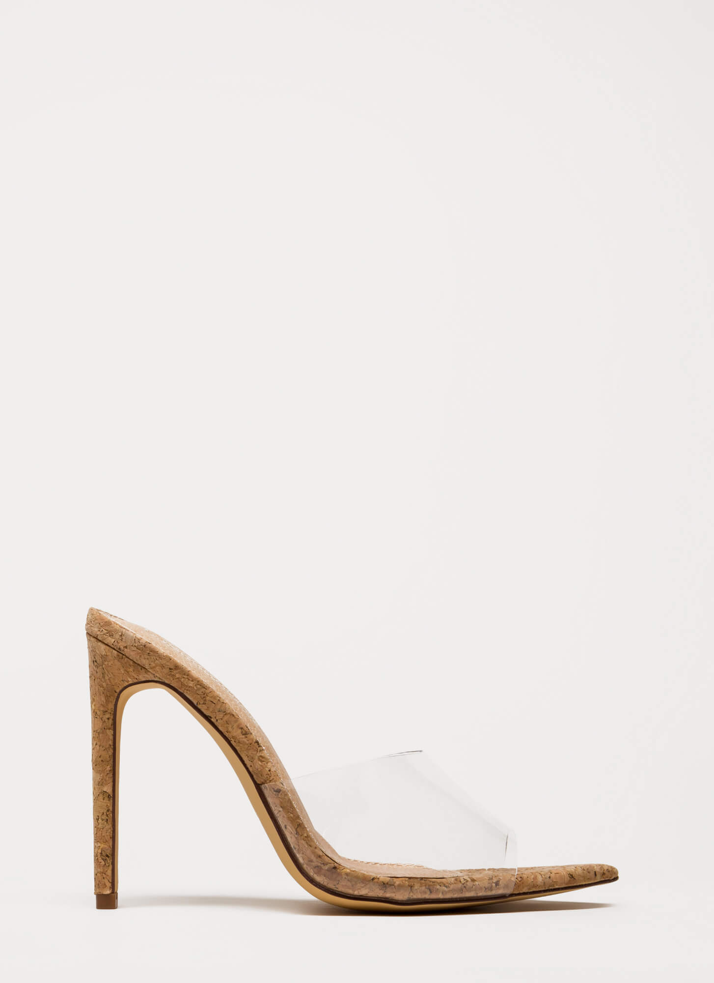 Clearly Sexy Pointy Peep-Toe Mule Heels CORK