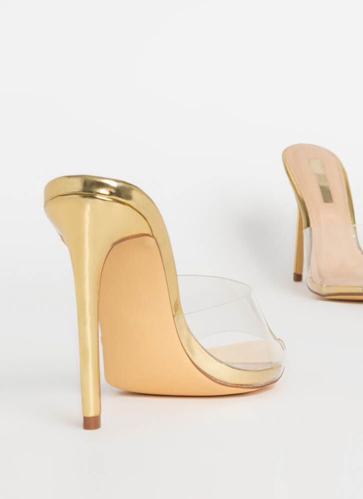 Clearly Sexy Pointy Peep-Toe Mule Heels GOLD