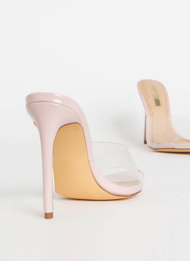 Clearly Sexy Pointy Peep-Toe Mule Heels NUDE