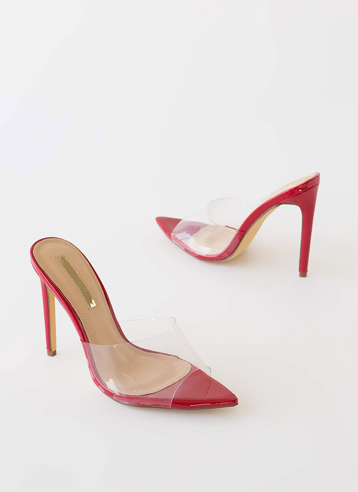 Clearly Sexy Pointy Peep-Toe Mule Heels RED