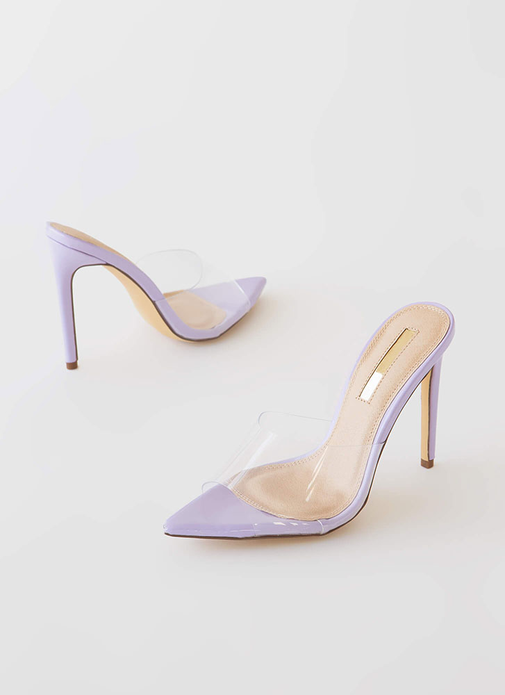 Clearly Sexy Pointy Peep-Toe Mule Heels VIOLET
