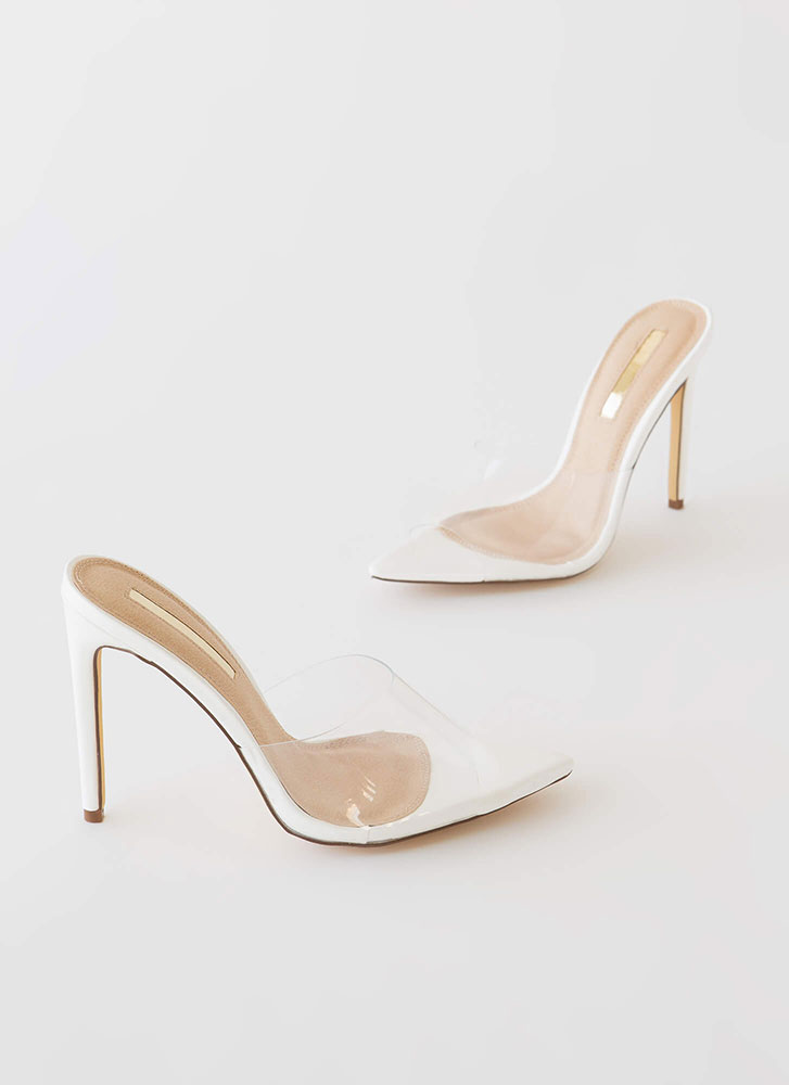 Clearly Sexy Pointy Peep-Toe Mule Heels WHITE