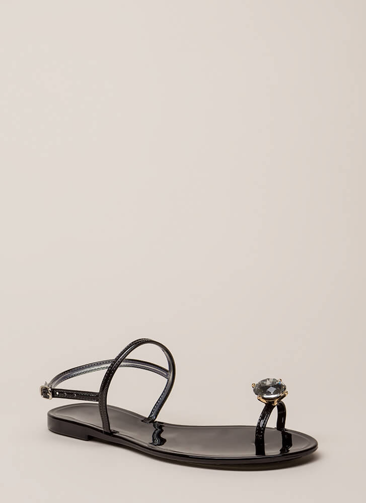 Crown Jewel Strappy Jelly Sandals BLACK (You Saved $12)