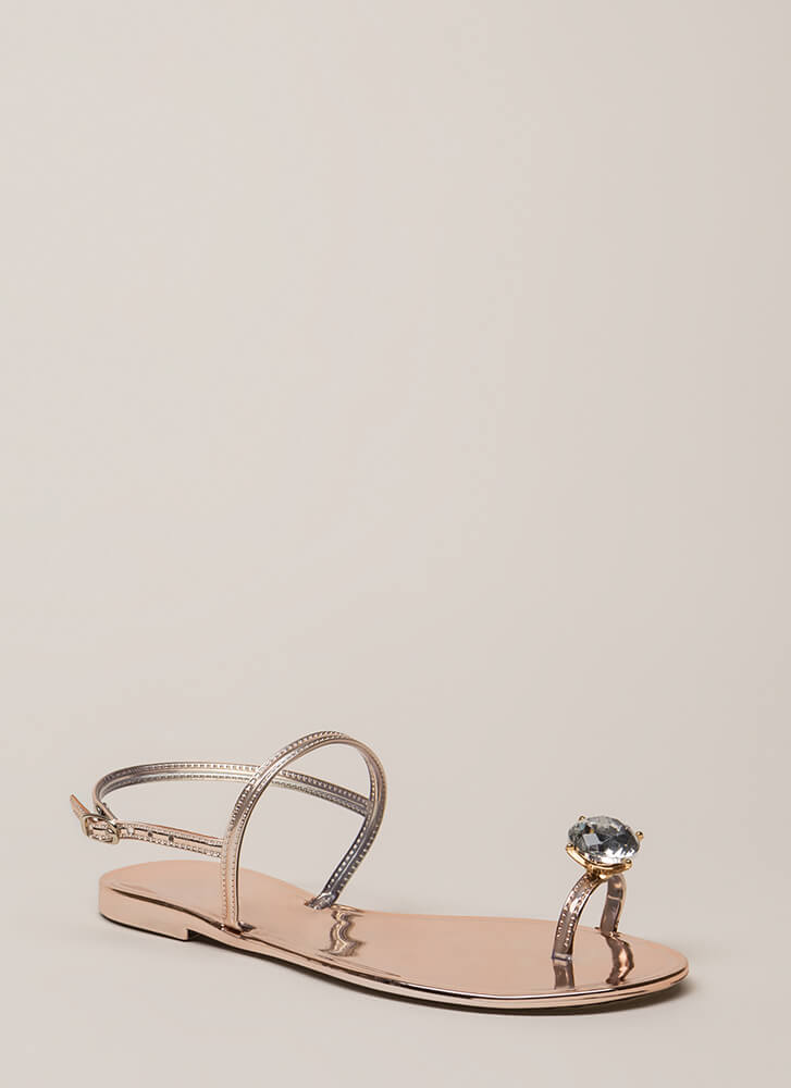Crown Jewel Strappy Jelly Sandals ROSEGOLD