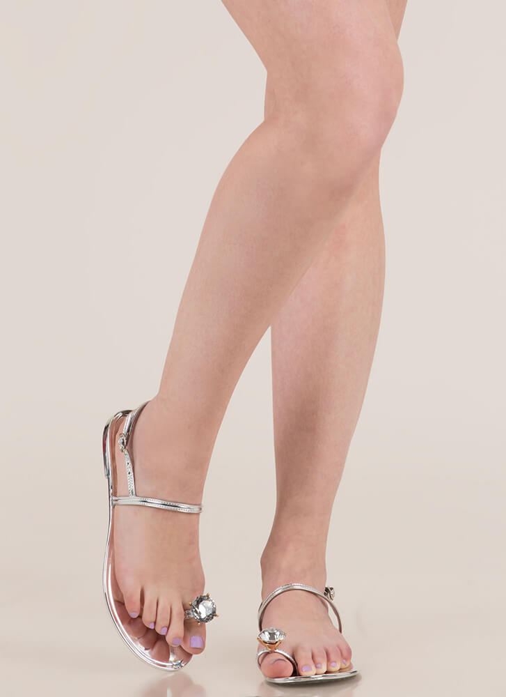 Crown Jewel Strappy Jelly Sandals SILVER