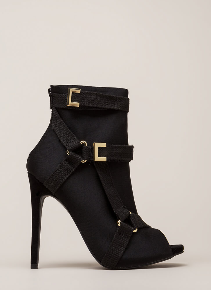 Harness Your Talent Strappy Booties BLACK