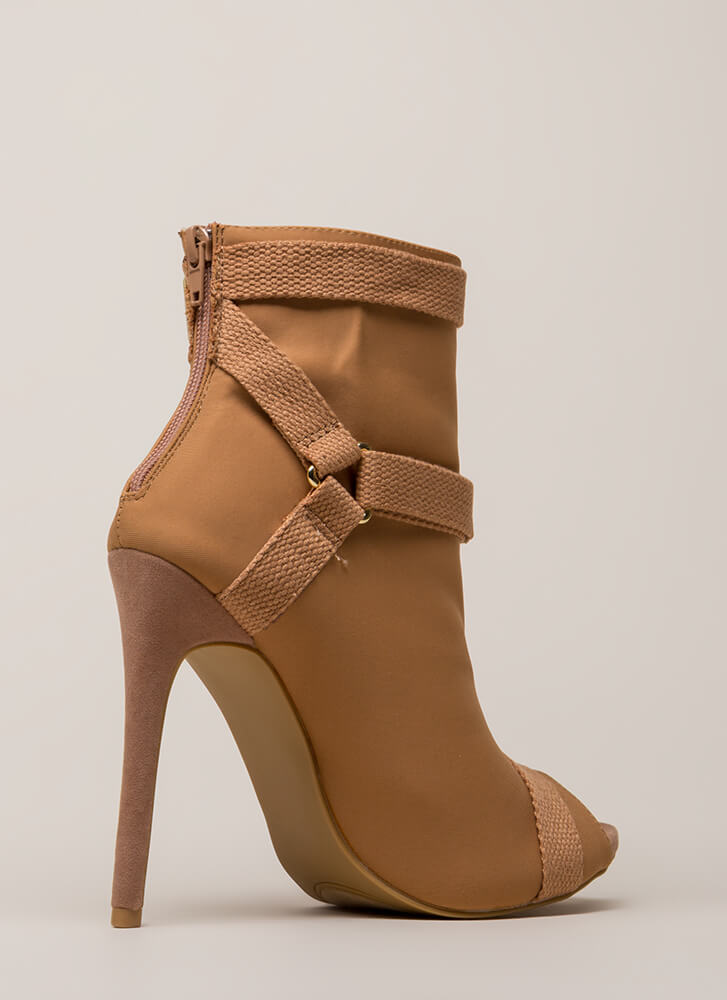 Harness Your Talent Strappy Booties TAUPE
