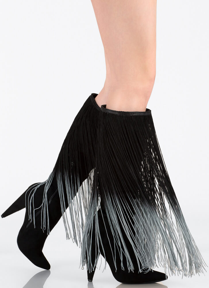 Curtain Call Pointy Fringe Boots BLACK (Final Sale)