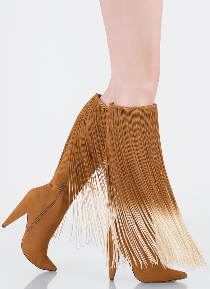 Curtain Call Pointy Fringe Boots MOCHA