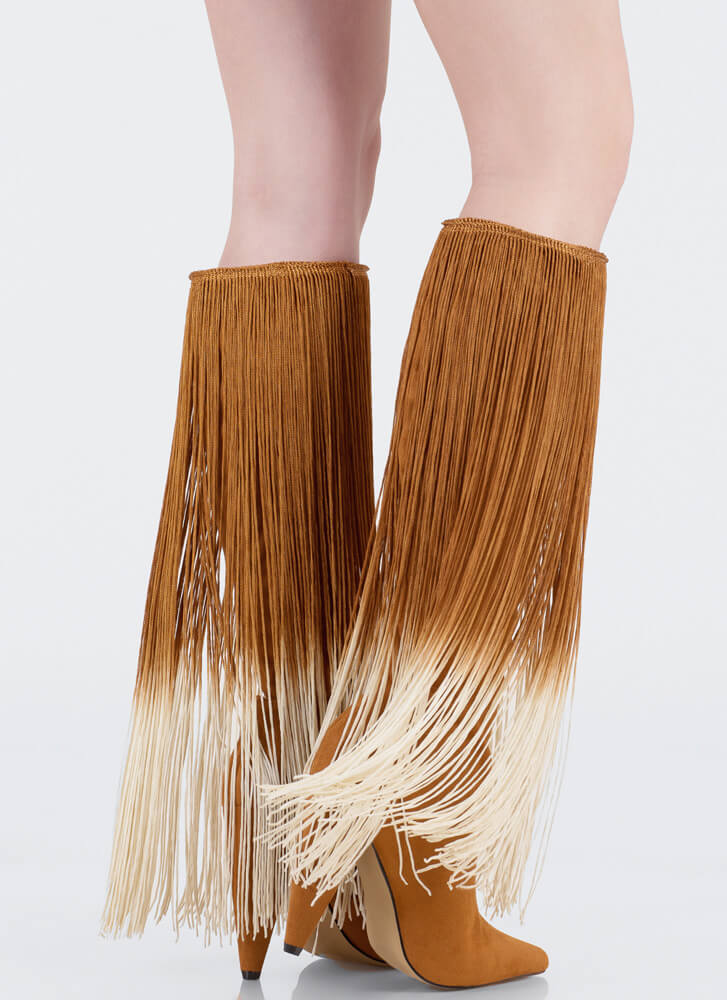 Curtain Call Pointy Fringe Boots MOCHA (Final Sale)