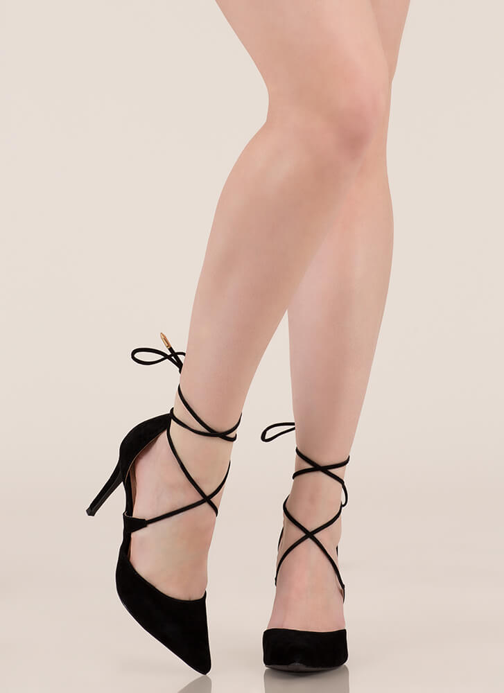Mon Cherie Pointy Lace-Up Heels BLACK