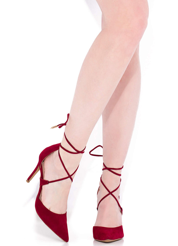 Mon Cherie Pointy Lace-Up Heels BURGUNDY