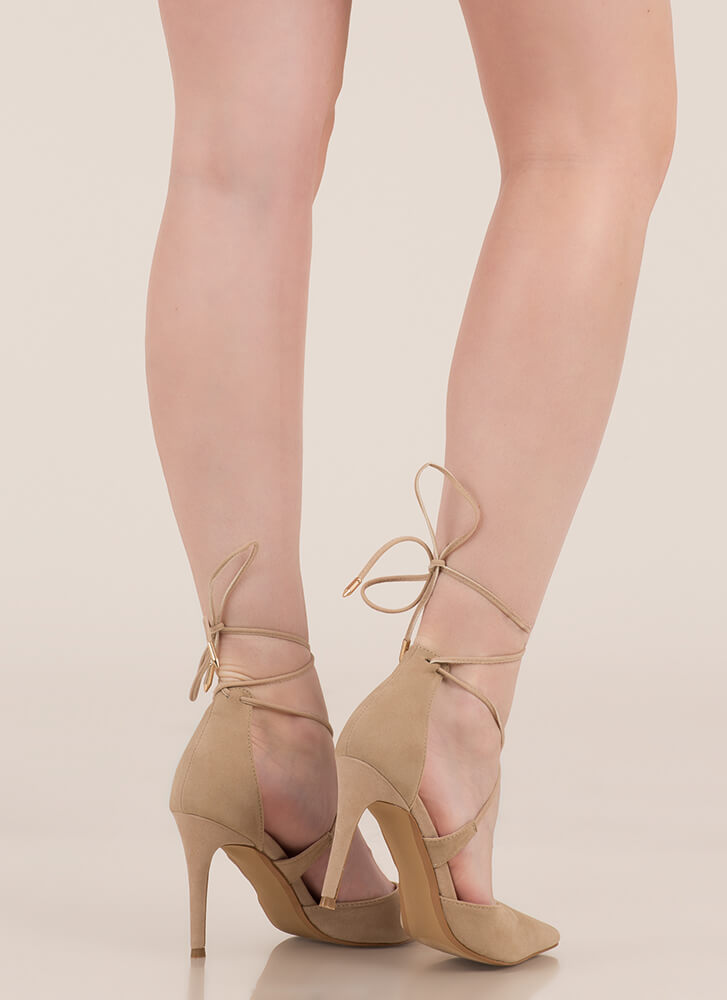 Mon Cherie Pointy Lace-Up Heels TAUPE