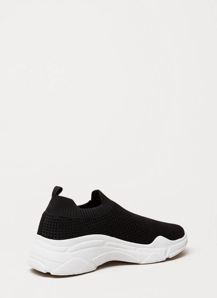 Knit's Gonna Be Me Slip-On Sneakers BLACK
