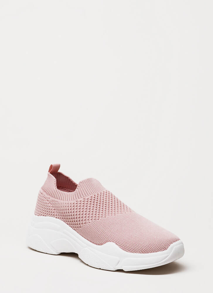 Knit's Gonna Be Me Slip-On Sneakers BLUSH