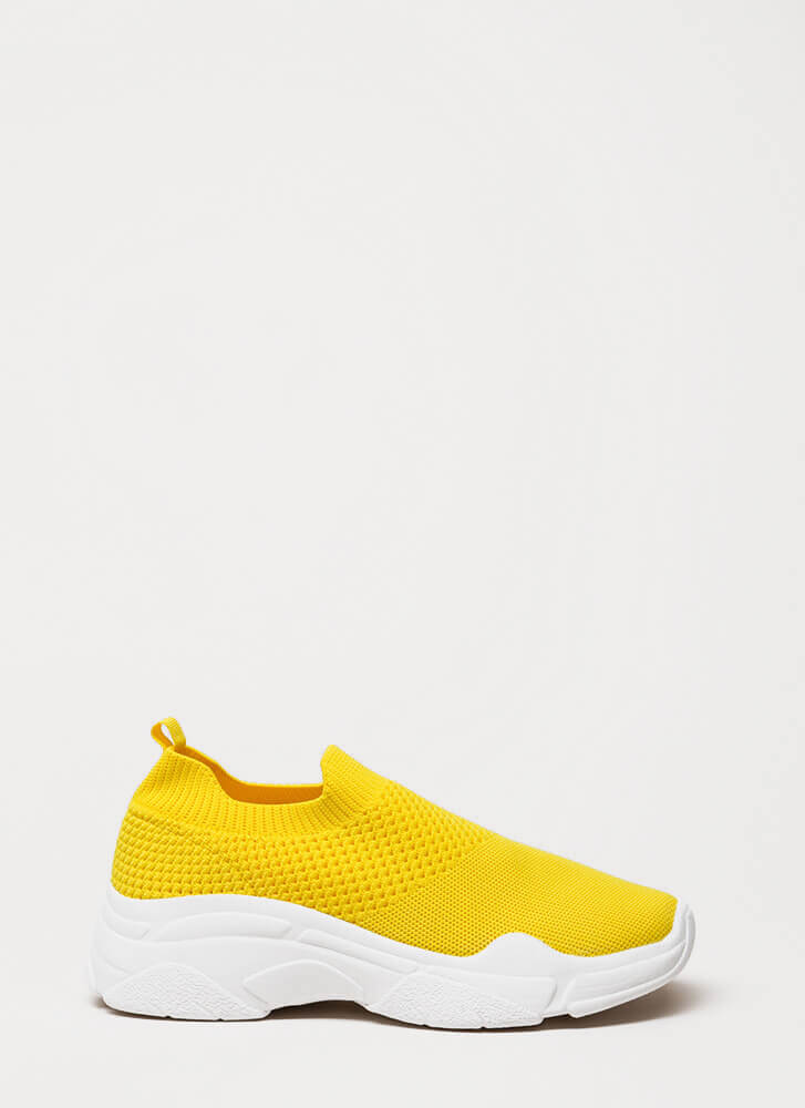 Knit's Gonna Be Me Slip-On Sneakers YELLOW